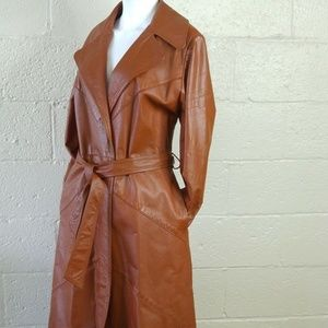 Vtg Women's Leather Trench Coat Brown Sz 14